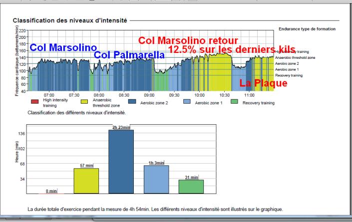 Analyse de l'entrainement avec Appli Firtsbeat Sport